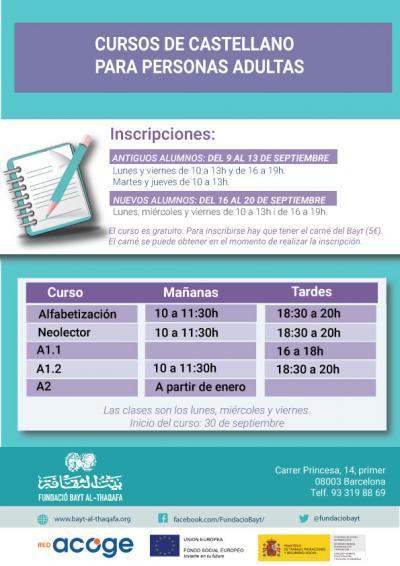 Cursos de castellano para personas adultas
